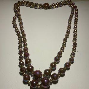 Aurora Borealis Faux Pearl 2 Strand Necklace